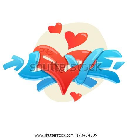 Graffiti vector illustration, font - stock vector