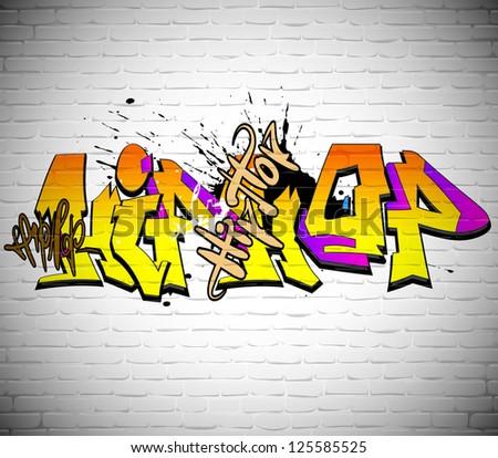 Graffiti wall background, urban art - stock vector