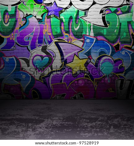 Graffiti wall background, urban street grunge art vector design - stock vector