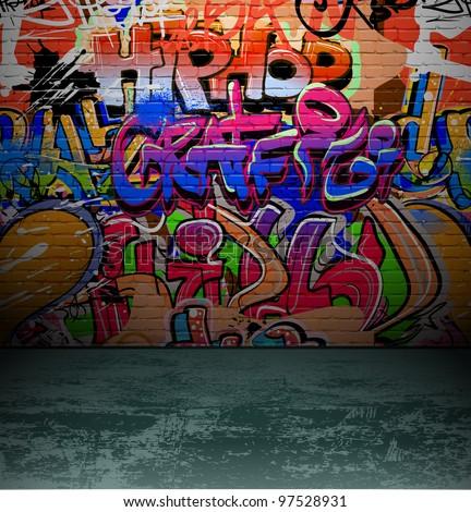Graffiti Wall Background Urban Street Grunge Stock Vector ...