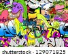 Graffiti wall. Urban art vector background - stock photo