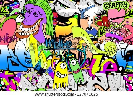 Graffiti wall. Urban art vector background - stock vector