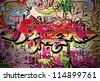 Graffiti wall vector urban art - stock