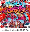 Graffiti wall vector urban hip hop background - stock