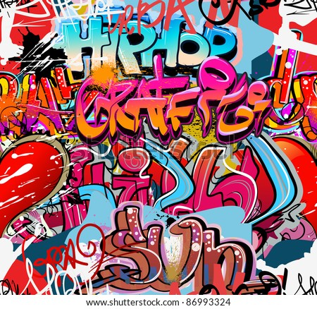 Graffiti wall vector urban hip hop background - stock vector