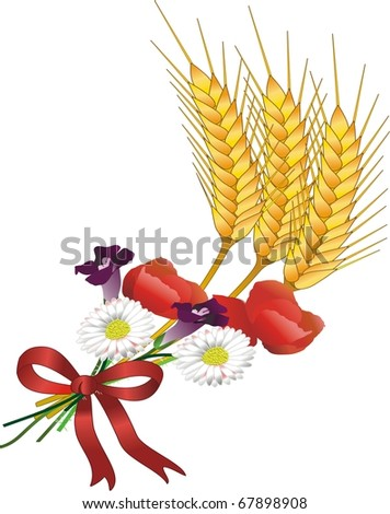 grain and flowers - stock vector