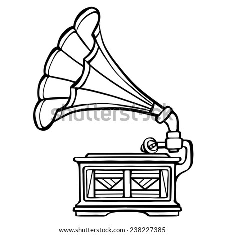 Gramophone closeup, black line,  musical icon isolated on white background  - stock vector