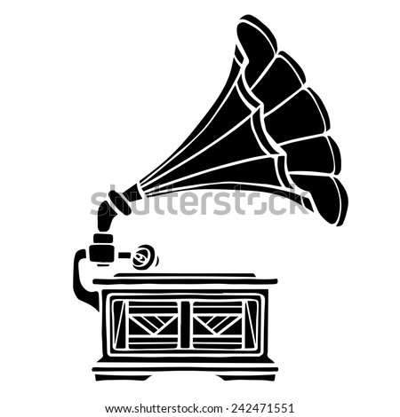 Gramophone closeup, black music icon isolated on white background  - stock vector