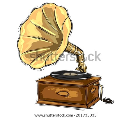 gramophone drawing - stock vector