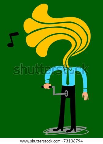 Gramophone-head man manipulates crank in his fly - stock vector