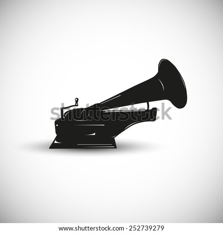 Gramophone illustration - 3d view design. - stock vector