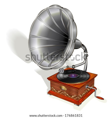Gramophone isolated on white background