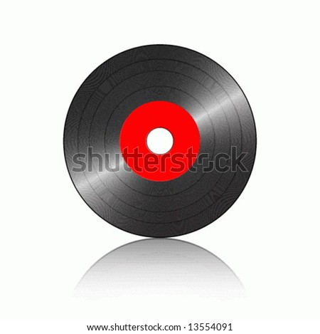 Gramophone record with reflection on a white background. Vector illustration