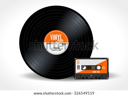 Gramophone vinyl LP record and music cassette with orange label. Long play album disc 33 rpm and compact audio tape - realistic retro design, vector art image illustration isolated on white background - stock vector