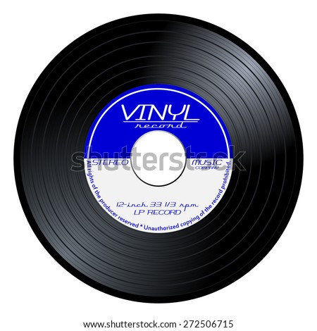Gramophone vinyl LP record with blue and white label. Black musical long play album disc 45 rpm. old tehnology, realistic retro design, vector art image illustration, isolated on background eps10 - stock vector