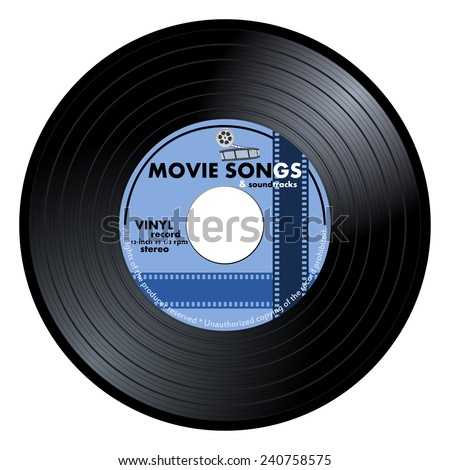 Gramophone vinyl LP record with blue movie songs label. Black musical long play album disc 45 rpm. old technology, realistic retro design, vector art image illustration, isolated on white background  - stock vector