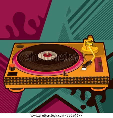 Gramophone with abstract background. Vector illustration. - stock vector