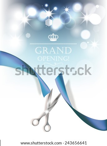 Grand opening background with blue ribbon and silver scissors - stock vector