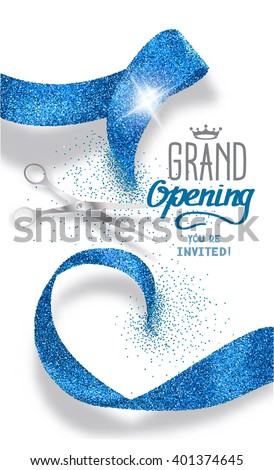 Grand opening banner with abstract blue abstract ribbon and scissors - stock vector