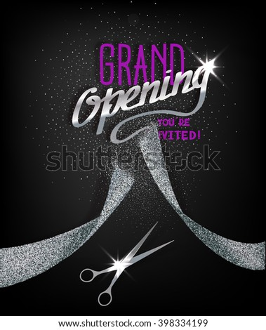Grand Opening card with abstract silver ribbon and scissors - stock vector