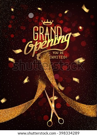 Grand Opening card with gold abstract ribbon and gold scissors on the dark red background - stock vector
