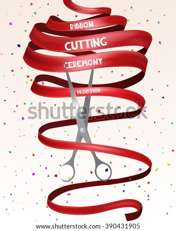 Grand opening card with red long ribbon and confetti - stock vector