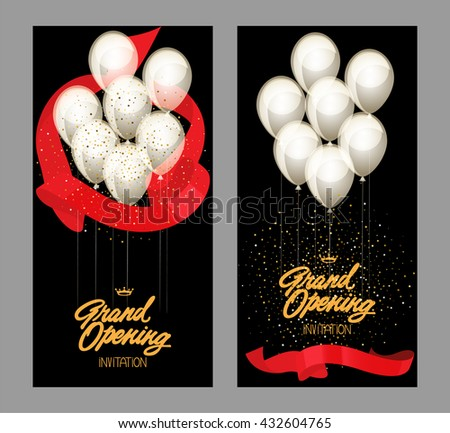 Grand opening cards with gold starry confetti and red glossy ribbons. Vector illustration. Flat design - stock vector