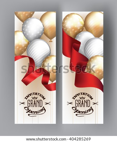 Grand opening cards with  red ribbon and gold and silver air balloons - stock vector