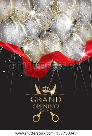 Grand opening cards with transparent air balloons, red ribbon and confetti - stock vector