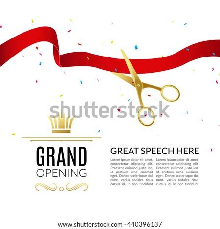 Grand Opening Design Template Ribbon Scissors Stock Vector ...