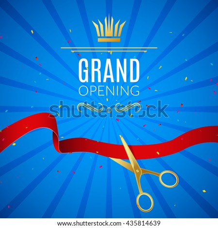 Grand Opening design template with ribbon and scissors. Grand open ribbon cut concept - stock vector