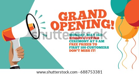 Grand Opening Flyer Marketing Banner Background Stock Vector - Grand opening flyer template free
