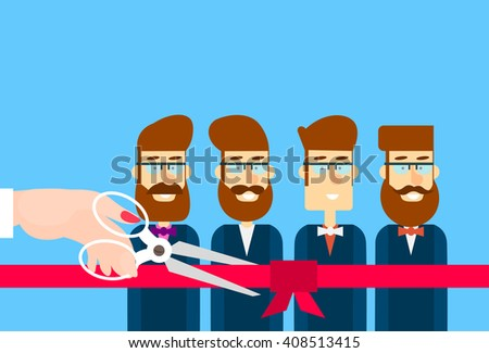 Grand Opening Hand With Scissors Cut Red Ribbon Bow Business Team Staff Presentation Flat Vector Illustration - stock vector