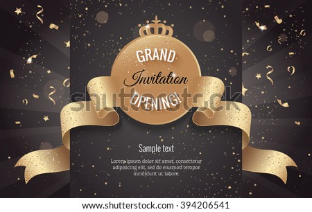 Grand opening horizontal banner. Text with confetti and curving ribbon. Gold sparkles.  Elegant style. Vector Illustration - stock vector