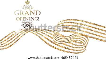 Grand Opening horizontal banner with gold sparkling abstract ribbon. Vector illustration