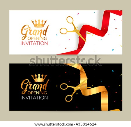Grand Opening Invitation Banners Ribbon Cut Vector 435814624 – Grand Opening Invitation Cards