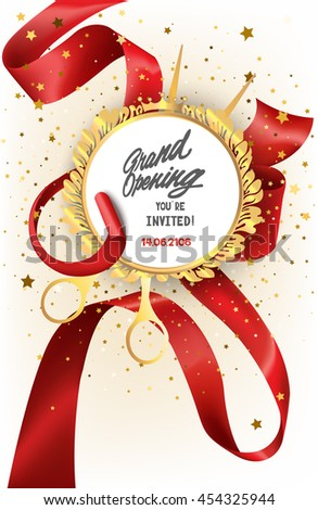 Grand opening invitation card curled silk stock vector hd royalty grand opening invitation card with curled silk ribbon scissors and floral frame vector illustration stopboris Image collections
