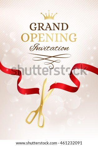 Grand opening invitation card cut red stock vector hd royalty free grand opening invitation card with cut red ribbon and gold scissors vector background with light stopboris Image collections