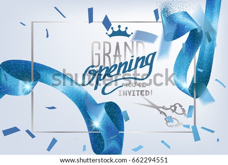 Grand opening invitation card sparkling background stock vector grand opening invitation card with sparkling background and curly elegant blue ribbon vector illustration stopboris Image collections