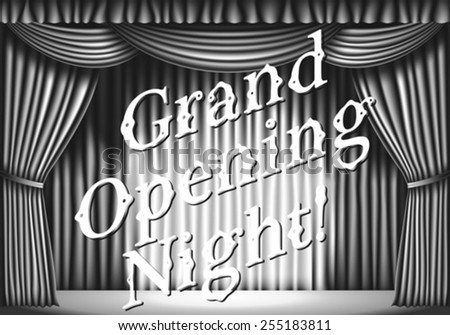 Grand opening night. stage with curtain. black and white retro illustration - stock vector
