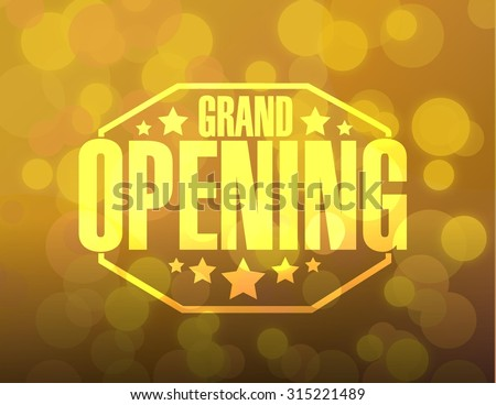 grand opening sign stamp bokeh background illustration design - stock vector
