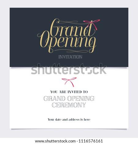 Grand opening vector illustration invitation card stock vector grand opening vector illustration invitation card for new shop template banner invite for altavistaventures Gallery