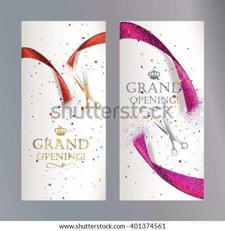 Grand Opening vertical banners with abstract red and pink ribbon  and scissors - stock vector