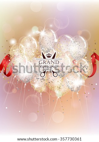 Grand opening with transparent air balloons, confetti and red ribbon - stock vector