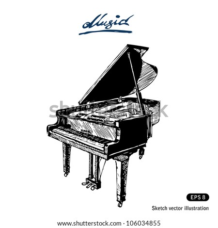 Grand piano. Hand drawn sketch illustration isolated on white background