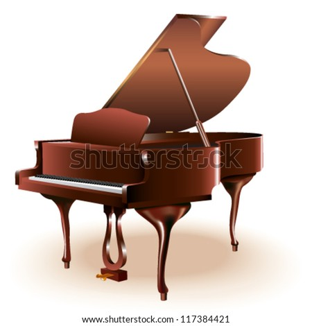 Grand piano. Isolated on white background. Fully editable vector - stock vector