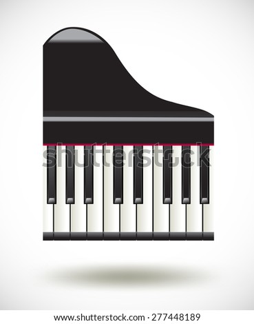 grand  piano keys icon on white - stock vector