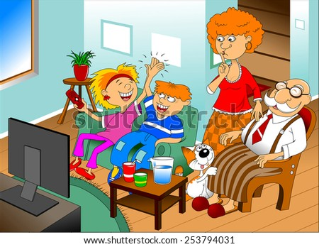 grandchildren and grandparents together watching a TV show - stock vector