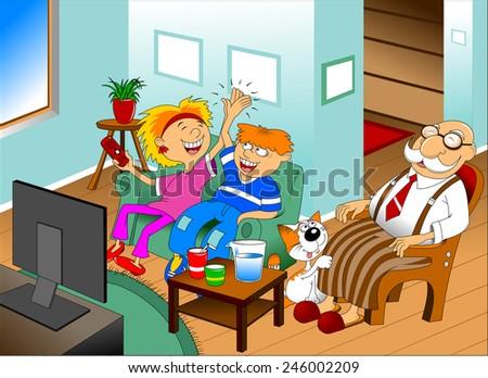 grandchildren, grandparents together watching a TV show - stock vector