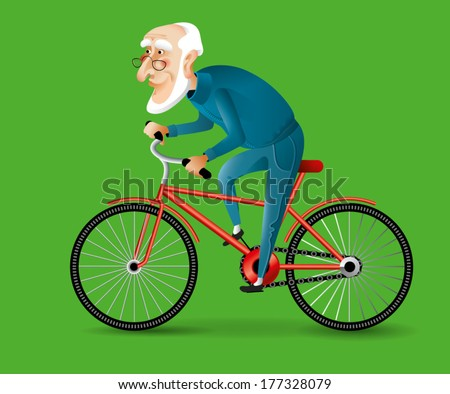 Grandfather on a bike - stock vector